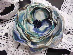 Ozdoby do vlasov - Spona ruža - farby zeme - 3557289