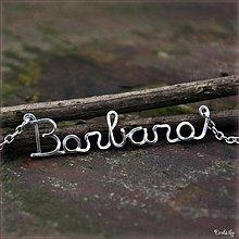Náhrdelníky - Náhrdelník s menom z postriebreného drôtu: 6-8 písmen (Barbara) - 3563308