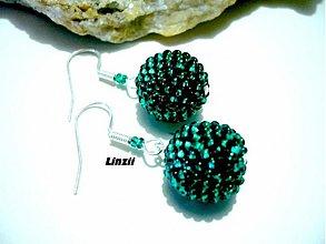 Náušnice - Smaragdové třpytivky - 3572127