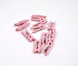 Polotovary - drevené mini štipčeky - ružové - 3578740