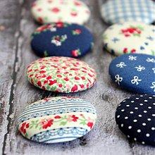 Materiál ručne robený - Vintage buttony v modrej 32 mm - 3586876