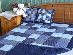 Úžitkový textil - prehoz na posteľ patchwork deka tmavomodrá - 3587924