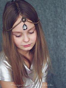 Ozdoby do vlasov - fantasy starozlatá čelenka - 3589196