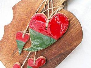 """Dekorácie - srdiečko červeno zelené """"červeno zelená láska"""" - 3598849"""