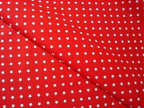 Textil - Látka bavlna červená hviezdička - 3598875