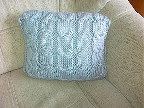 Úžitkový textil - Pletený vankúš - šedý - 3599244