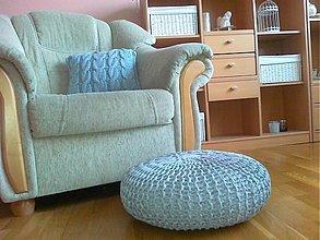 Úžitkový textil - Nízky puf , podnožka a vankúš - 3599321
