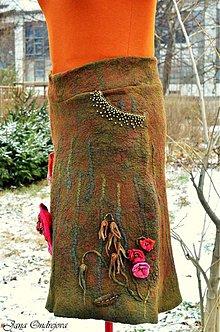 Sukne - Plstená sukňa Tabaková - 3600898