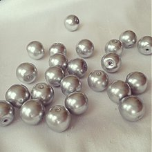 Korálky - Perly sklenené strieborné, 10mm, 0.55€/10ks - 3601394
