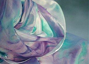 Šály - Máta a levandule - pastelová hedvábná šála - 3601510