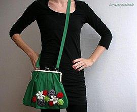 Kabelky - zelená kabelka s kvetmi - 3609541