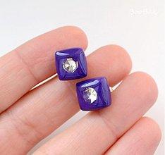 Náušnice - Fialové kocky - 3618470
