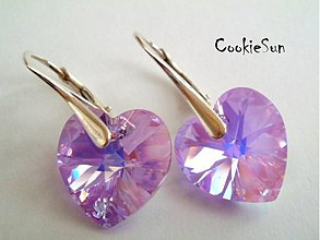 Náušnice - Náušnice Swarovski Heart Violet AB - 3622468