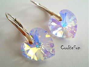 Náušnice - Náušnice Swarovski Heart Crystal AB - 3622736