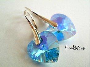 Náušnice - Náušnice Swarovski Heart Aquamarine AB - 3622822
