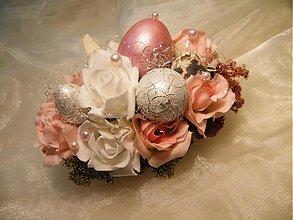 Dekorácie - Veľkonočná dekorácia_ružovo biela - 3623033