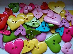 Galantéria - Srdiečkové gombíčky (balíček 50ks) - 3639296