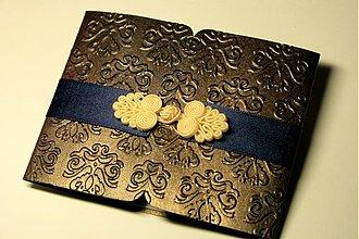 Papiernictvo - Luxusné svadobné oznámenie-perleťové čokoládové II - 3639458
