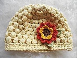 Detské čiapky - Prechodná detská čiapočka s kvietkom - 3643012