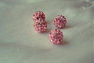 Korálky - shamballa korálky CZ kryštál, svetloružové, 0.25€/ks - 3643720