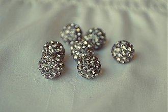 Korálky - shamballa korálky CZ kryštál šedé, 10mm, 0.25€/ks - 3643746