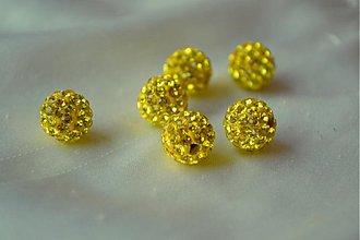 Korálky - shamballa korálky CZ kryštál žlté, 10mm, 0.25€/ks - 3643755
