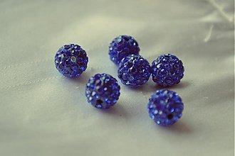 Korálky - shamballa korálky CZ kryštál kráľovská modrá, 10mm, 0.25€/ks - 3643756