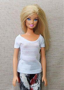 Hračky - Biele perleťové tričko pre Barbie - 3656392