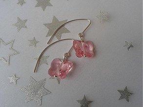 Náušnice - Motýliky svetlo ružové - 3663650