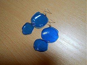 Náušnice - Jednoduché modré nausnice, modre nausnice z plastovej flase, mineralka Magnesia, modra flasa - 3668339