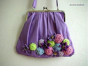 Kabelky - fialová kabelka s kvetmi - 3670005
