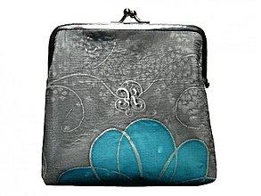 Taštičky - Hodvábna kabelka malá Tyrkysový kvet - 3671692