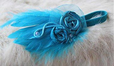 Ozdoby do vlasov - tyrkysová čelenka s perím - 3672853
