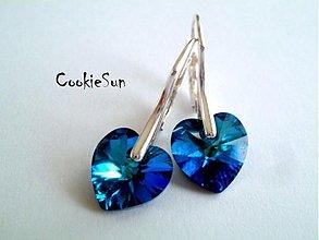 Náušnice - Náušnice Swarovski Heart Bermuda Blue - 3677648