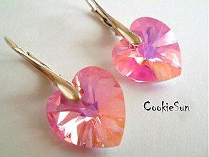 Náušnice - Náušnice Swarovski Heart Light Rose AB - 3677680