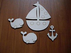 Tabuľky - Detské dekorácie - loďka, kotva, rybky - 3677957