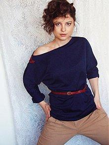Mikiny - Modré tričko s trištvrťovym rukávom - 3679116