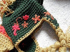 Detské čiapky - setík dievčenská čiapka s vrkočami a šálik - 3683199