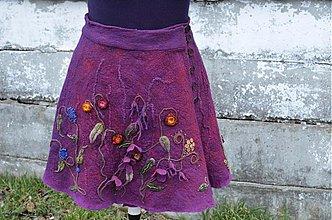Sukne - Hodvábno-vlnená sukňa vo farbách tmavej maliny a baklažánu - 3694039