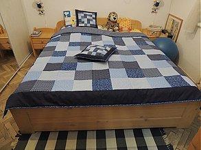 Úžitkový textil - patchwork deka 140x200 alebo 220x220 a vankúš za super cenu - 3694420