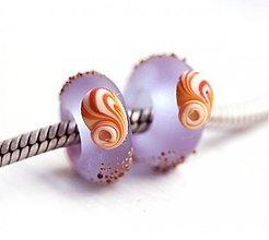 Korálky - Seaglass Lilac pandora - 3694561