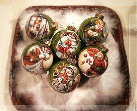 Dekorácie - Vianočné gule ručne maľované 8 cm - 3697149