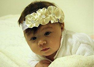 Ozdoby do vlasov - Detská čelenka s bielymi kvietkami - 3697370