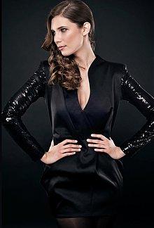 Šaty - Luptakova: VÝPREDAJ Čierne mini šaty z kolekcie GLAM - 370234