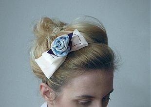 Ozdoby do vlasov - Čelenka ruža modrá s mašľou - 3703350