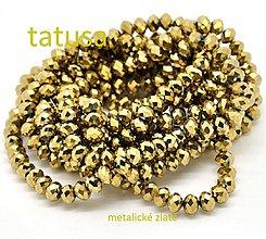 Korálky - Korálky sklenené brúsené 6x4mm -zlaté - 3703403