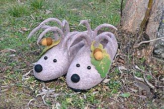 Obuv - Plstené papučky ježkovia na objednávku - 3706942