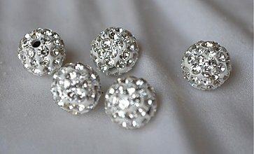 Korálky - shamballa korálky CZ kryštál biele, 10mm, 0.25€/ks - 3710887
