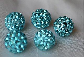 Korálky - shamballa korálky CZ kryštál, blue zirkon, 10mm, 0,25€/ks - 3710925