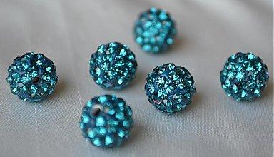 Korálky - shamballa korálky CZ kryštál modrá lagúna, 10mm, 0.25€/ks - 3710936